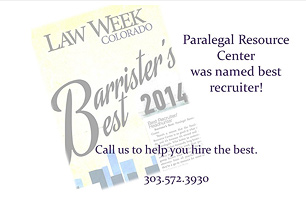 Paralegal Resource Center recognized once again in 2014 by Law Week Colorado as Best Recruiter on the Barristers Best List!